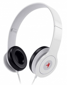 Genius HS-M450 3.5mm Over-ear Wired Headphones with In-Line Microphone - White