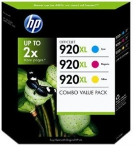 HP 920XL 3-Colour High Yield Ink Cartridge Combo Pack - Cyan Magenta Yellow
