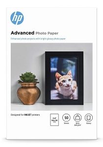 HP 9RR50A Advanced Glossy 4x6 250gsm Photo Paper - 50 Sheets
