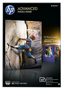 HP Q8008A Glossy 4x6 250gsm Advanced Photo Paper - 60 Sheets