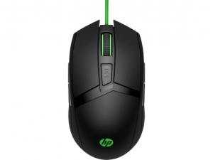 HP Pavilion 300 USB Wired Optical Gaming Mouse - Green Cable