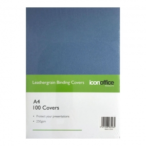 Icon A4 250gsm Binding Covers Navy Blue - 100 Pack