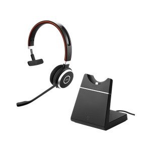 Jabra Evolve 65+ MS Bluetooth Over The Head Wireless Mono Headset with Charging Stand - Optimised for Microsoft Business Applications