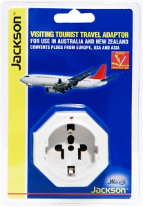 Jackson Inbound Travel Adaptor with Surge Protection for Converting USA, Europe & Japanese Plugs to NZ & Australia