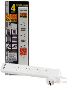 JACKSON 4 way Protected Power Board 2 ports are double spaced. 2 x USB Outlets, 1m power cord