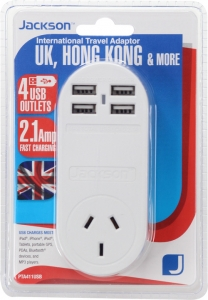 Jackson Outbound International Travel Adaptor With 4 USB Charging Ports (2.1A total) for UK & Hong Kong