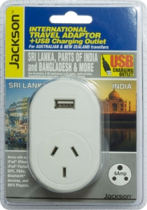 Jackson Outbound International Travel Adaptor With 1 USB Charging Port (1A) for Sri Lanka & parts of India