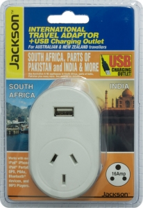 Jackson Outbound International Travel Adaptor With 1 USB Charging Port (1A) for South Africa & parts of India/Pakistan