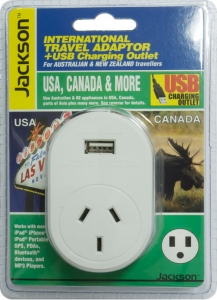 Jackson Outbound International Travel Adaptor With 1 USB Charging Port (1A) for USA & Canada