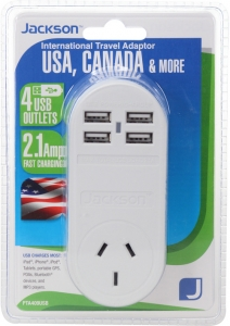 Jackson Outbound International Travel Adaptor With 4 USB Charging Ports (2.1A total) for USA & Canada
