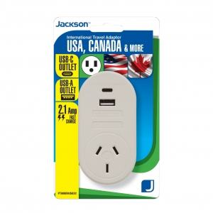 Jackson Outbound Travel Adaptor with 1 USB-A and 1 USB-C for USA and Canada