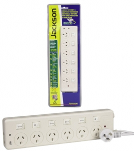 Jackson 6 Outlet Individually Switched Protected Power Board with Telephone Protection