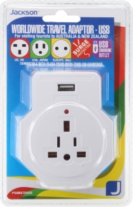 Jackson Inbound Travel Adaptor With 1 USB Charging Port (2.1A) for Converting USA, UK & European Plugs to NZ & Australia - Dual Plug