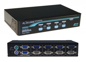 NovaView 1-4 USB/PS2 Dual Video (VGA) KVM Switch, 4X 1.8M USB Cables Included - Black