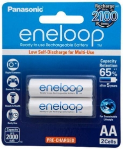Panasonic Eneloop AA 2000mAh Rechargeable Batteries - 2 Pack