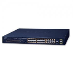 Planet GS-4210-24P2S 24  Port Gigabit Ethernet 10/100/1000T Layer 2 POE Managed Switch + 2x 100/1000X SFP