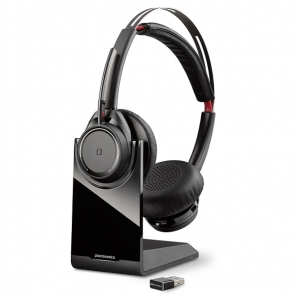 Poly Voyager Focus B825 UC USB-A Bluetooth Over the Head Wireless Stereo Noise Cancelling Headset with Stand