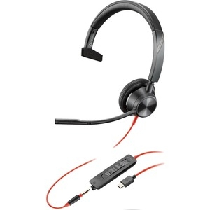 Poly Blackwire 3315-M MS USB-C & 3.5mm Over the Head Wired Mono Headset - Optimised for Microsoft Business Applications