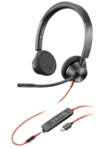 Poly Blackwire 3325-M MS USB-C & 3.5mm Over the Head Wired Stereo Headset - Optimised for Microsoft Business Applications