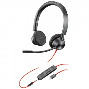 Poly Blackwire 3325 UC USB-C & 3.5mm Over the Head Wired Stereo Headset