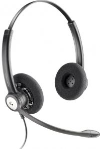 Poly Entera HW121N Quick Disconnect Over the Head Wired Stereo Headset with Noise Cancelling