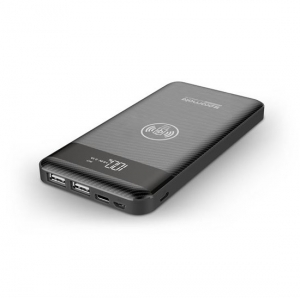 Promate AURAPACK-10 10000mAh Battery Powerbank with Wireless Charging - Black