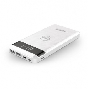 Promate AURAPACK-10 10000mAh Battery Powerbank with Wireless Charging - White