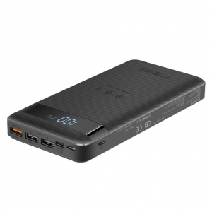 Promate AuraTank-20 10W Qi Fast Wireless 20000mAh Power Bank with USB-C 18W Power Delivery and QC3.0 - Black