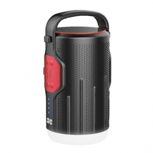 Promate CampMate-2 10000mAh Power Bank with 4W LED Light & 5W Speaker - Black/Red
