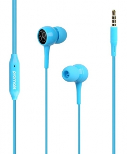 Promate BENT Dynamic In-Ear Stereo Wired Earphone with Built-In Microphone - Blue