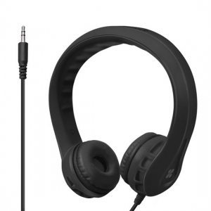 Promate FLEXURE Lightweight Kid-Safe Foam Over Ear Wired Headset - Black