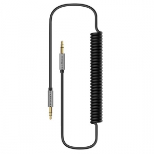 Promate LINKMATE-A3 2.5m Coiled 3.5mm Curly Audio Cable - Black