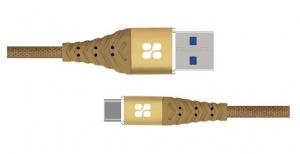 Promate NERVELINK-C 1.2m USB-C to USB Type-A Charge & Sync Cable - Gold