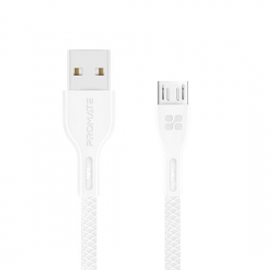 Promate POWERBEAM-M 1.2m USB-A to Micro-USB Charge & Sync Cable - White