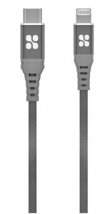 Promate PowerCord-200 2m USB-C to Apple Lightning Charge & Sync Cable - Grey