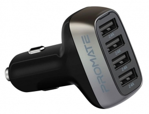 Promate SCUD-48 48W Car Charger with 4 USB Ports - Black