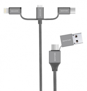 Promate UNILINK-TRIO2 1.2m Micro USB, Lightning & USB-C Charge & Sync Cable - Grey