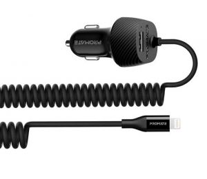 Promate VolTrip-i 3.4A Car Charger with Lightning Coiled Cable - Black