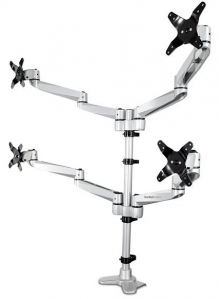 StarTech Full Motion Quad Monitor Arm Desk Mount Bracket for 13-27 Inch Flat Panel TVs or Monitors - Up to 11.3kg per Display + Prezzy Card Draw Offer