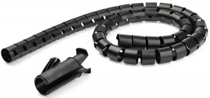 StarTech Spiral 2.5m x 25mm Cable Management Sleeve - Black