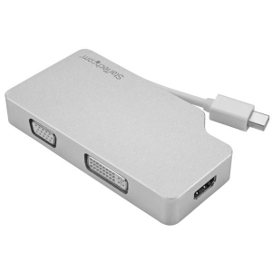 StarTech 3 in 1 4k Mini DisplayPort to VGA, DVI or HDMI Travel Adapter - Aluminum