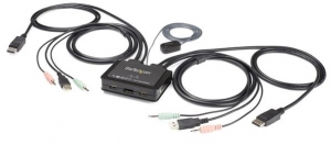 StarTech 2 Port USB 4K DisplayPort KVM Switch with Built-In Cables
