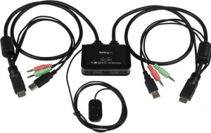 StarTech 2 Port USB HDMI Cable KVM Switch with Audio and Remote Switch – USB Powered