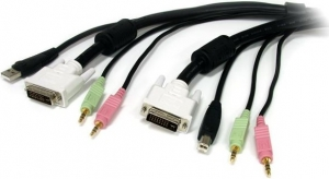 StarTech 1.8m 4-in-1 USB DVI KVM Cable with Audio and Microphone