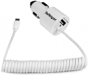 StarTech 2.1A USB Car Charger with Built-in Micro-USB Cable & 1x USB Type-A Port - White + Prezzy Card Draw Offer