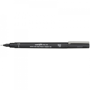 Uni-Ball Pin 200 0.4mm Black Permanent Fine Liner Pen - 12 Pack