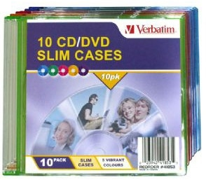 Verbatim CD/DVD Empty Coloured Slim Cases - 10 Pack