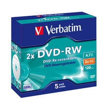 Verbatim DVD-RW 2X 4.7GB Branded Surface DVD Discs - 5 Pack with Jewel Case