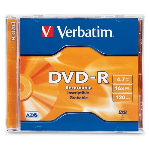Verbatim DVD-R 16X 4.7GB Branded Surface DVD Disc - 1 Pack with Jewel Case