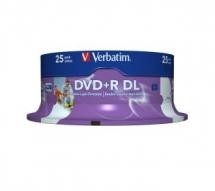 Verbatim DVD+R 8X 8.5GB White Inkjet Printable DVD Discs - 25 Pack